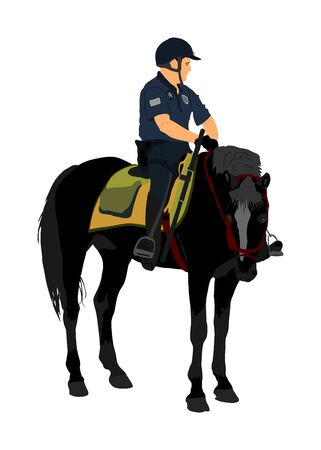 Elegant horse with jockey vector illustration isolated on white background. Police man riding horse. Hippodrome sport event. Police mounted officer for crowd control situation protest policemen patrol Иллюстрация