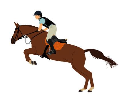 Elegante cavallo da corsa nel galoppo illustrazione vettoriale isolato su sfondo bianco. Fantino a cavallo. Evento sportivo ippodromo. Gioco d'azzardo di intrattenimento. Cavaliere equestre nel saltare lo spettacolo della barriera.