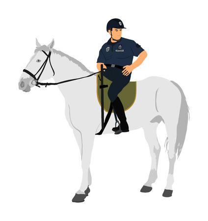 Elegant horse with jockey vector illustration isolated on white background. Police man riding horse. Hippodrome sport event. Police mounted officer for crowd control situation protest policemen patrol Ilustracja