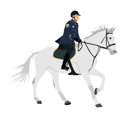 Elegant horse with jockey vector illustration isolated on white background. Police man riding horse. Hippodrome sport event. Police mounted officer for crowd control situation protest policemen patrol Vettoriali