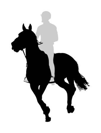 Elegantes Rennpferd in der Galoppvektorschattenbildillustration lokalisiert auf weißem Hintergrund. Jockey-Reitpferd im Rennen. Sportveranstaltung im Hippodrom. Unterhaltung und Glücksspiel.