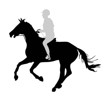 Elegant racing horse in gallop vector silhouette illustration isolated on white background. Jockey riding horse in race. Hippodrome sport event. Entertainment and gambling.
