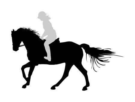 Elegante cavallo da corsa in siluetta di vettore di galoppo isolato su priorità bassa bianca. Signora fantino a cavallo. Evento sportivo ippodromo. Gioco d'azzardo di intrattenimento.
