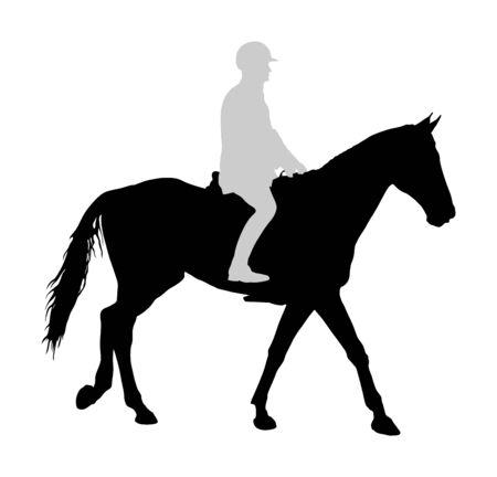 흰색 배경에 고립 된 갤럽 벡터 실루엣 그림에서 우아한 경주 말. 경주에서 말을 타고 기수. 경마장 스포츠 이벤트. 오락과 도박. 벡터 (일러스트)