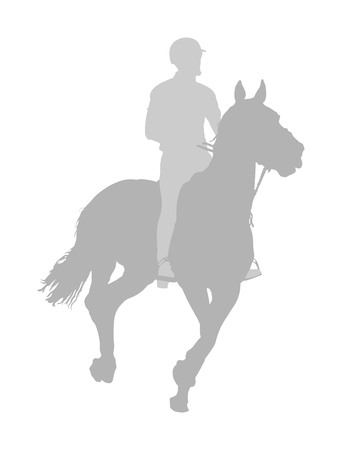 Elegant racing horse in gallop vector silhouette illustration isolated on white background. Jockey riding horse in race. Hippodrome sport event. Entertainment and gambling. Derby betting for champion. Vettoriali