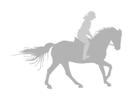 Elegant racing horse in gallop vector silhouette isolated on white background. Jockey lady riding horse. Hippodrome sport event. Entertainment gambling. Equestrian rider in jumping over barrier show.