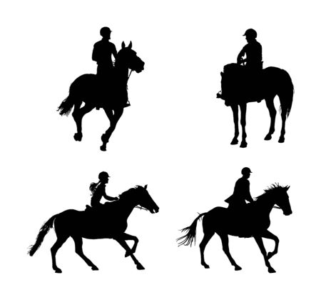 Elegant racing horse in gallop vector silhouette isolated on white background. Jockey riding jot horse in race. Hippodrome sport event. Entertainment and gambling. Derby betting for ambler champion.