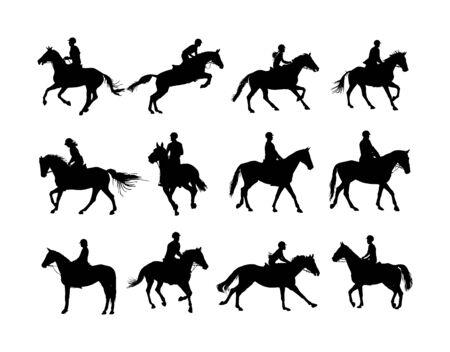 Cheval de course élégant en silhouette vecteur galop isolé sur fond blanc. Jockey équitation cheval jot en course. Événement sportif de l'hippodrome. Divertissement et jeu. Pari de derby pour le champion d'ambler.