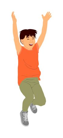 Happy joyful kid, little boy doing exercises vector illustration isolated on white background. Boy jumping and playing funny game. Spread hands widespread open position. Smiling child enjoy trampoline