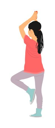 Girl exercises yoga standing pose vector illustration isolated on white background Young lady worming up, work out activity in gym. Health care practice. In healthy body health mind. Sport woman enjoy