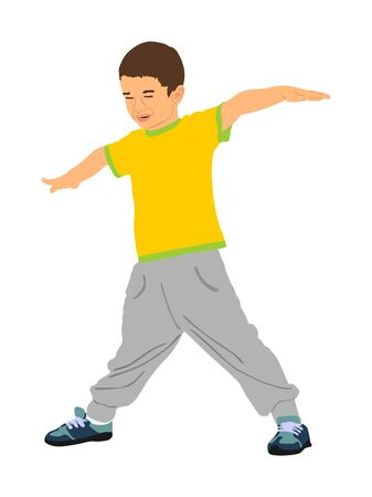 Happy joyful kid, little boy doing exercises vector illustration isolated on white background. Funny boy playing plane game. Spread hands flying symbol. widespread hands open. Smiling child enjoy.