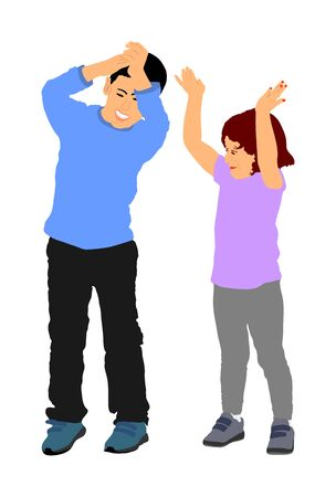 Smiling child, boy and girl applauding vector illustration isolated on white background. Hands in the air. Little kids give applause, support sport idol. Brother and sister give applause for animator