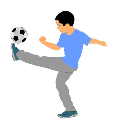 Happy little boy with ball playing football vector illustration isolated on white background. Little boy kick soccer ball outdoor vector. Фото со стока - 129274184