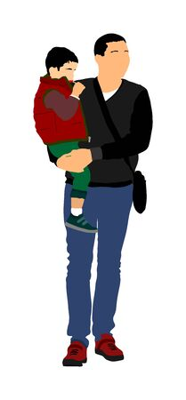 family people vector illustration isolated on white background. Father and son.  Father carrying his son on hands, dad carrying little boy. Fathers day.