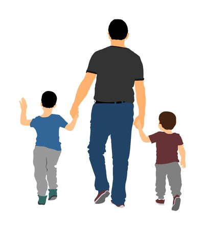Father with kids vector illustration isolated on white background. Dad and two sons walking the street and holding hands. Fathers day. Closeness and tenderness in public. Happy children.