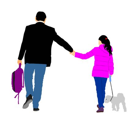 Father walking with daughter after work vector silhouette. Holding hands. Happy girl walking with dad and her little dog vector illustration. Fathers day, happy birthday gift for girl. Фото со стока - 129274190