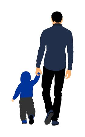 Young handsome father and son holding hands walking on the street. Parent spend time with son vector illustration. Man and boy in walk. Fathers day. Happy family closeness in public. I love my dad.