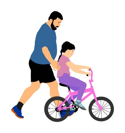 Happy caring father teaching his daughter riding a bicycle vector illustration isolated on white background. Dad teaches his daughter to ride a bike. Fathers day. Sport and recreation family outdoor Фото со стока - 129274195