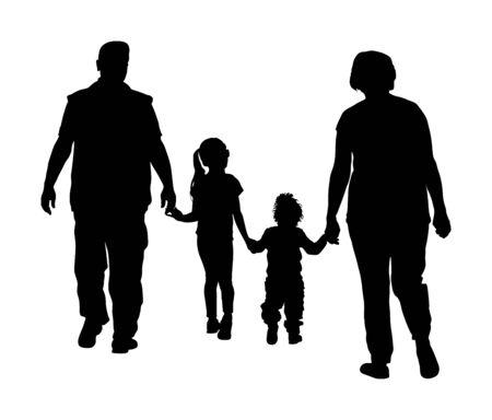Glückliche junge Familie, die Handvektorschattenbildillustration lokalisiert auf Hintergrund hält. Vatertag. Muttertag. Papa mit Sohn und Mama mit Tochter zu Fuß. Kleiner Junge und Mädchen mit den Eltern im Freien.