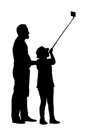 Little girl taking selfie picture with her father helps, vector silhouette illustration isolated on white background. Taking selfie - hand hold monopod with mobile phone. Cute tourist girl take photo.
