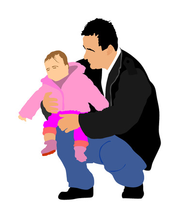 Fathers day concept. Family people vector illustration isolated on white background. Father and son.  Father carrying his son in arms, dad carrying little boy. Family values. Illustration
