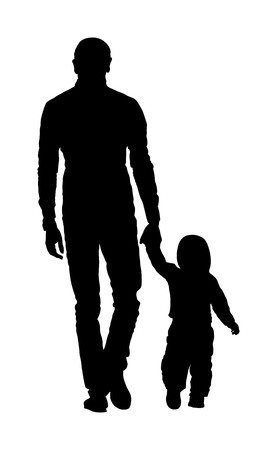 Young father and son holding hands walking on the street. Parent spend time with son vector silhouette illustration. Man and boy in walk. Fathers day. Happy family closeness in public. I love my dad.