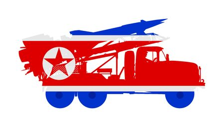 Artillery Launcher truck vector illustration. North Korea Missile Rocket carrier with nuclear bomb. War threat. Powerful army weapon for battle. Doomsday alert. Top secret treat for enemy. Ilustração