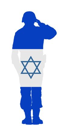 Israel Saluting army soldier vector isolated on white background.  (Memorial day, Veterans day, Independence day). Military member on duty. Israel flag over soldier. Middle east country symbol. Ilustracja