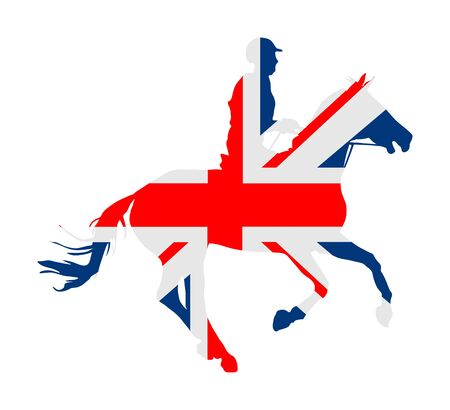 British flag over elegant racing horse in gallop vector illustration isolated on white. Hippodrome entertainment and gambling sport event. Equestrian riding horse, national pride of United kingdom.