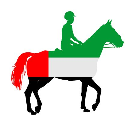 United Arab Emirates flag over elegant racing horse in gallop vector illustration isolated on white.
