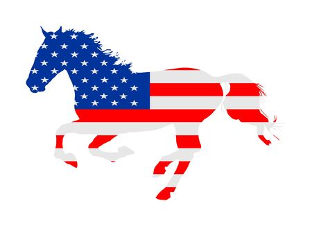 USA flag over elegant racing horse in gallop vector illustration isolated on white. Hippodrome entertainment and gambling sport event. Equestrian riding horse, national pride United States of America.