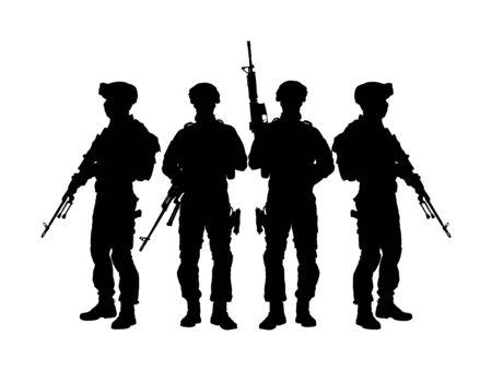 Army soldiers with sniper rifle on duty vector silhouette (Memorial Veterans day, 4th of July Independence day) Soldier keeps watch on guard. Rangers on border. Commandos team unit. Special force crew Ilustração