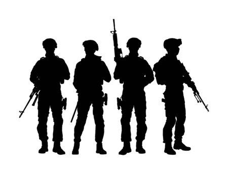 Soldats de l'armée avec un fusil de sniper en service silhouette vectorielle (jour commémoratif, jour des anciens combattants, 4 juillet, jour de l'indépendance) Le soldat veille, sur la garde. Rangers à la frontière. Unité de l'équipe de commandos.