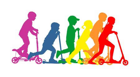 Group of children riding scooter vector silhouette. Kids on kick board enjoying together. Active outdoor fun and entertainment for boys and girls. Roller sport. Friends rent electric scooter on travel