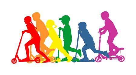 Group of children riding scooter vector silhouette. Kids on kick board enjoying together. Active outdoor fun and entertainment for boys and girls. Roller sport. Friends rent electric scooter on travel Ilustración de vector