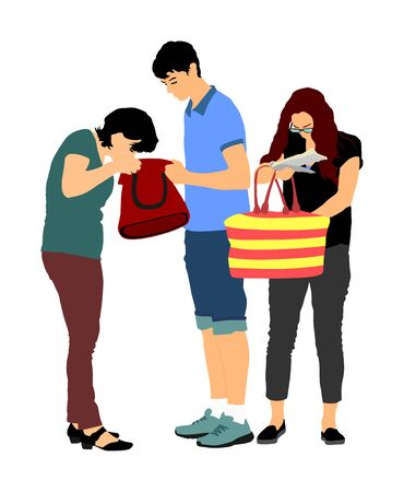 Woman looking for a wallet, keys on bag, vector illustration. Stressful situation on street, loss of money. Tourist lady lost passport. Problem at the border. No payment card searching victim of crime