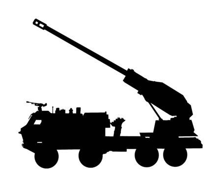 Ilustración de silueta de vector de camión lanzador de artillería de obús. Porta cohetes de misiles con cañón. Prueba de bomba nuclear, amenaza de guerra. Poderosa arma del ejército para la batalla.