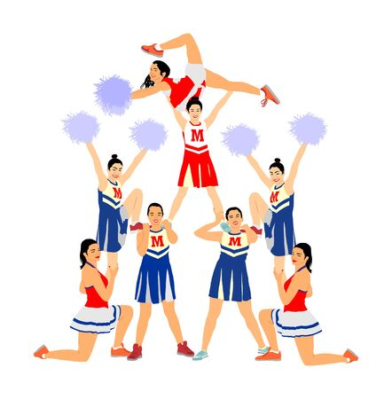 Cheerleader dancers figure vector illustration isolated. Cheer leading girl sport support. High school, college cheer leading formation. Gymnastic legs apart pose perform. Energy dance fan smiling.  イラスト・ベクター素材