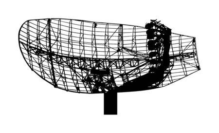 Militärische Radarluftüberwachungsvektorschattenbild lokalisiert auf weißem Hintergrund. Telekommunikationssystem. Digitaler Antennensender. Satelliten-Fernwellenübertragung.