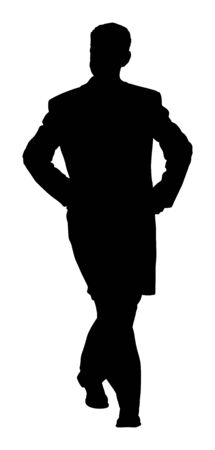 Elegant businessman in coat vector silhouette illustration. Handsome man with hands in pockets. Mature Business man in suite. Senior manager or politician walking during elections campaign.