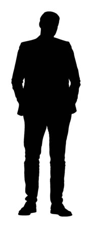 Confident leader standing. Businessman go to work vector silhouette illustration. Handsome man in suite with hands in pockets. Standing casual pose. Relaxed man.