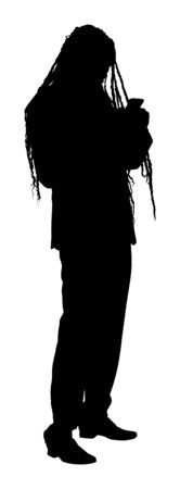 Businessman with mobile phone vector silhouette illustration. Handsome Jamaica man with dreadlocks in suite with smart phone gadget . Stylish elegant Reggae Rasta businessman in suite.