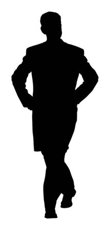 Elegant businessman in coat vector silhouette illustration. Handsome man with hands in pockets. Mature Business man in suite. Ilustracja
