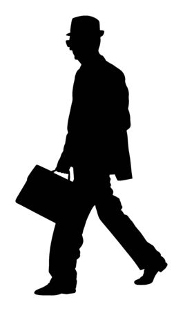 Experienced lawyer with suitcase walking vector silhouette. Elegant senior gentleman. Mature businessman. Old school teacher. Man in suit with hand in pocket. Secret service member double agent. Grandfather