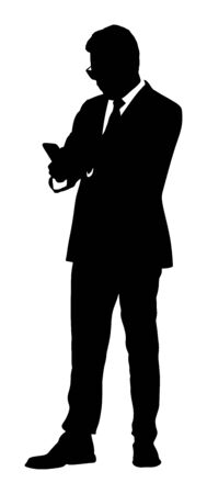Businessman with mobile phone vector silhouette illustration. Handsome man in suite with hand in pocket. Standing pose. Relaxed man. Manager relaxing on pause. Yuppie appoints a meeting with girl.
