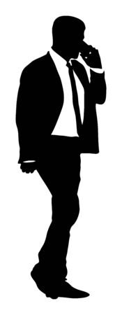 Elegant businessman talking with mobile phone silhouette. Man in suit walking with smart phone. Business man arranges a meeting with client. Important talk for economy situation. stock market broker.  イラスト・ベクター素材
