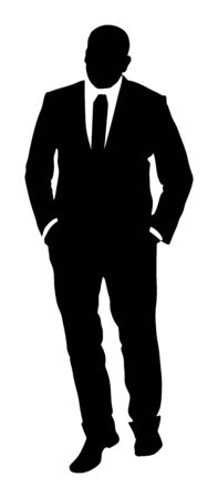 Businessman in suite and tie standing with hands in pockets vector silhouette. Handsome business man in office work. Elegant man manager.  Bodyguard observe, agent care for president's security