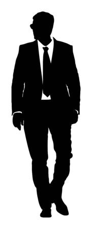 Businessman in suite and tie standing vector silhouette. Handsome business man in office work. Elegant man manager. Bodyguard observe, secret agent care president security. Event safety organisation