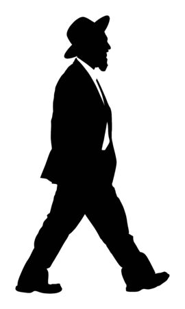 Amish man in suite vector silhouette illustration. Jewish businessman. Tourist man traveler walking with hat vector silhouette isolated on white. Diamond merchant. Jeweler buyer, trader from Israel.