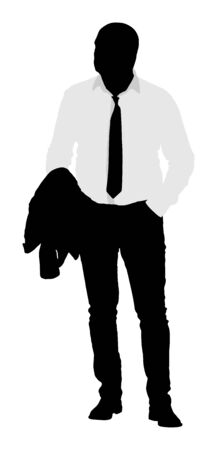 Confident man standing with hand in pocket silhouette. Elegant businessman vector illustration.